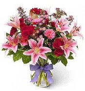 Vazo içerisinde karışık mevsim çiçeği  Eskişehir çiçek siparişi sitesi