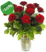 11 adet vazo içerisinde kırmızı gül  Eskişehir online çiçek gönderme sipariş