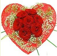 Mika kalp içerisinde 7 adet kırmızı gül  Eskişehir çiçekçi mağazası