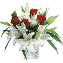 vazo içerisinde 4 gül 1 adet kazablanka  Eskişehir online çiçek gönderme sipariş