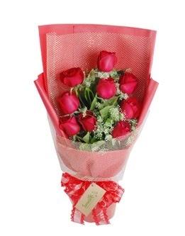 9 adet kırmızı gülden görsel buket  Eskişehir ucuz çiçek gönder