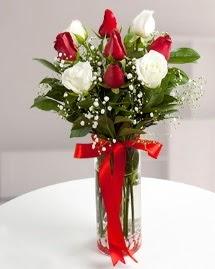 5 kırmızı 4 beyaz gül vazoda  Eskişehir cicekciler , cicek siparisi