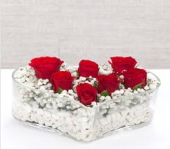 kalp içerisinde 7 adet kırmızı gül  Eskişehir çiçek siparişi vermek