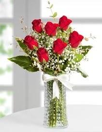 Cam vazoda 7 adet kırmızı gül  Eskişehir çiçek , çiçekçi , çiçekçilik