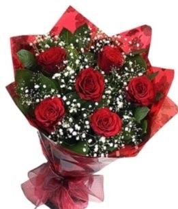 6 adet kırmızı gülden buket  Eskişehir yurtiçi ve yurtdışı çiçek siparişi