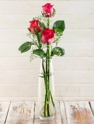 Cam içerisinde 3 kırmızı gül  Eskişehir çiçek satışı