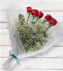 5 kırmızı gülden sade buket  Eskişehir çiçek yolla
