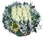 Eskişehir çiçekçiler  Beyaz harika bir gül sepeti