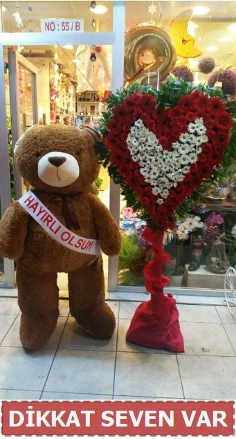 1.5 Metre peluş ayı ve Kalp  Eskişehir çiçek gönderme sitemiz güvenlidir