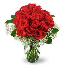 25 adet kırmızı gül cam vazoda  Eskişehir çiçek , çiçekçi , çiçekçilik