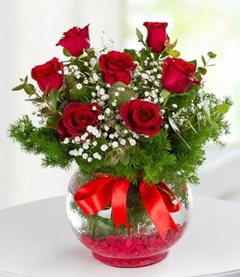 fanus Vazoda 7 Gül  Eskişehir çiçek , çiçekçi , çiçekçilik