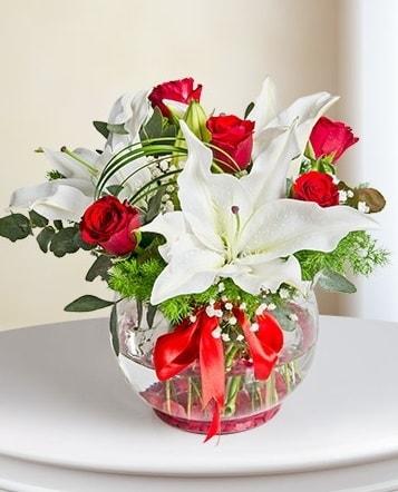 Fanus Vazoda 2 Lilyum ve 5 Gül Dansı  Eskişehir çiçek gönderme