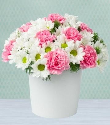 Seramik vazoda papatya ve kır çiçekleri  Eskişehir çiçek siparişi sitesi