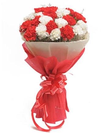 21 adet kırmızı beyaz karanfil buketi  Eskişehir çiçek satışı