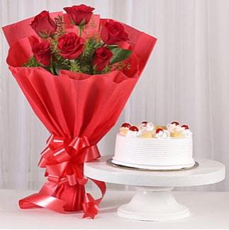6 Kırmızı gül ve 4 kişilik yaş pasta  Eskişehir çiçek , çiçekçi , çiçekçilik