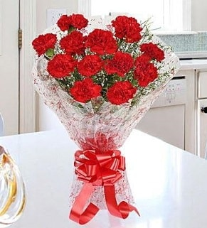 12 adet kırmızı karanfil buketi  Eskişehir İnternetten çiçek siparişi