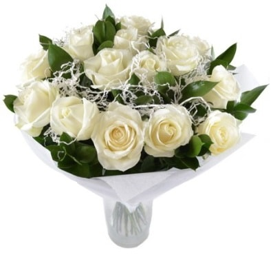 15 beyaz gül buketi sade aşk  Eskişehir çiçek satışı