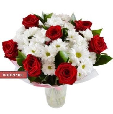 7 kırmızı gül ve 1 demet krizantem  Eskişehir çiçek gönderme sitemiz güvenlidir