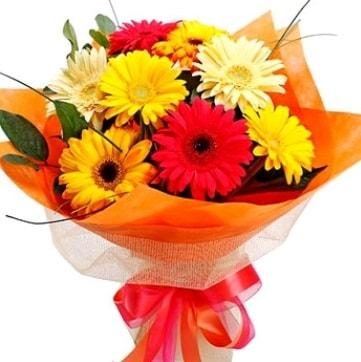 9 adet karışık gerbera buketi  Eskişehir çiçek , çiçekçi , çiçekçilik