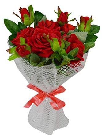 9 adet kırmızı gülden sade şık buket  Eskişehir çiçekçi telefonları