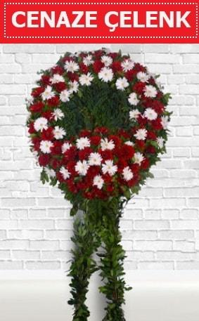 Kırmızı Beyaz Çelenk Cenaze çiçeği  Eskişehir İnternetten çiçek siparişi