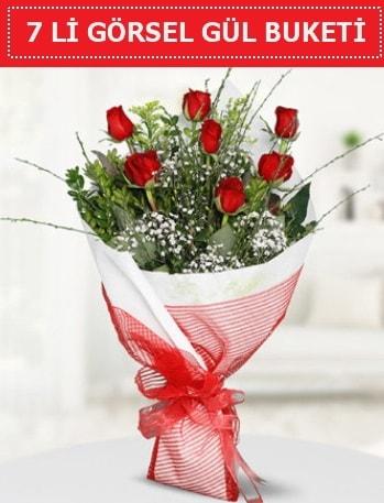 7 adet kırmızı gül buketi Aşk budur  Eskişehir çiçek satışı