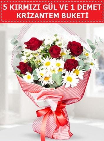 5 adet kırmızı gül ve krizantem buketi  Eskişehir çiçek satışı
