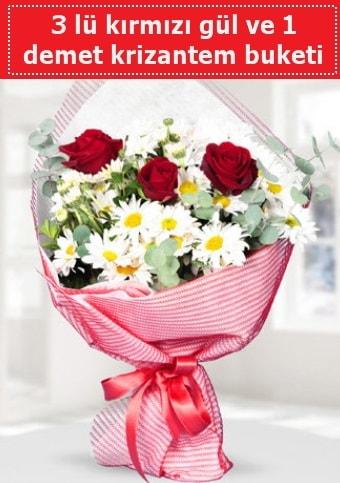 3 adet kırmızı gül ve krizantem buketi  Eskişehir çiçek gönderme sitemiz güvenlidir
