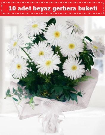 10 Adet beyaz gerbera buketi  Eskişehir çiçek , çiçekçi , çiçekçilik